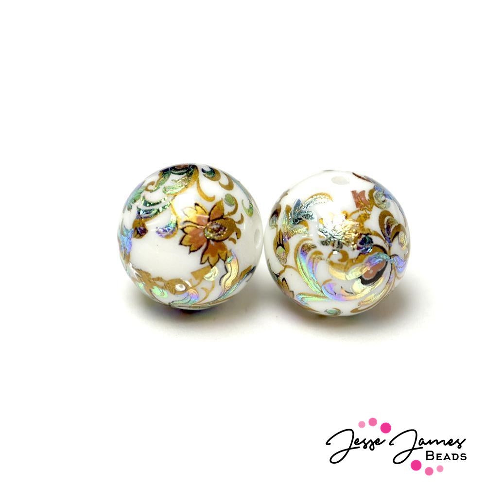 Peacock Twirl 16MM Japanese Tensha Bead Pair