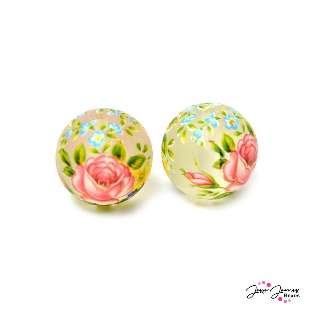 Japanese Tensha Bead Pair Secret Garden on Matte 16mm