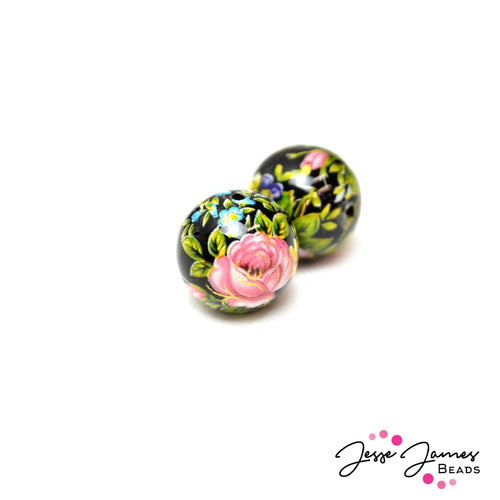 Pink Rose On Black 12MM Japanese Tensha Bead Pair