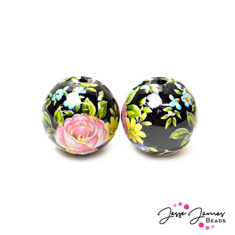 Japanese Tensha Bead Pair Garden Glow 16MM
