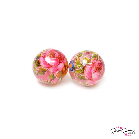 Pink Rose On Clear 14mm Japanese Tensha Bead Pair