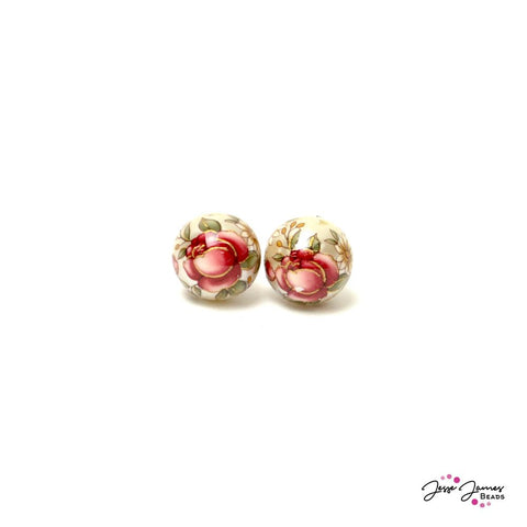 Pink Rose on Satin White 14mm Japanese Tensha Beads