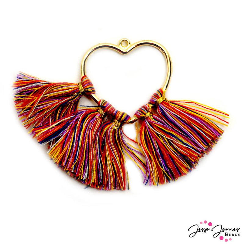 Tassel Pendant in Playful Hearts