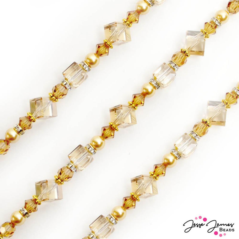 Diamond Shine Bead Strand Ft. Preciosa in Harriet Tan