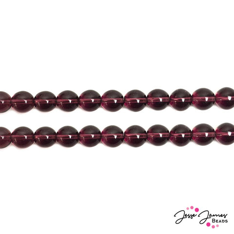 Purple Amethyst Round 12mm Czech Beads