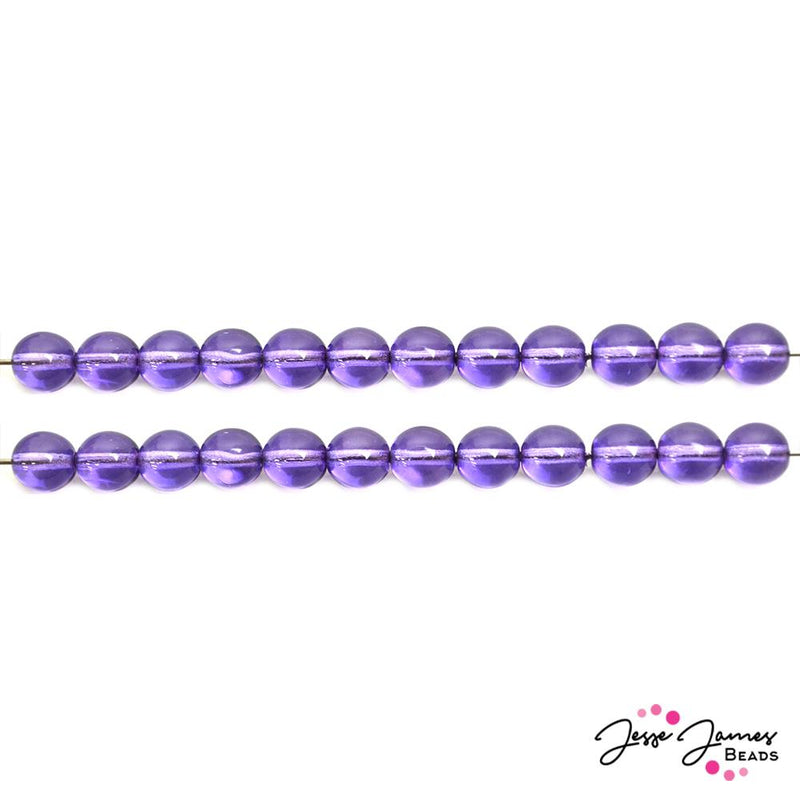 Purple Lilac 8mm Round Czech Beads
