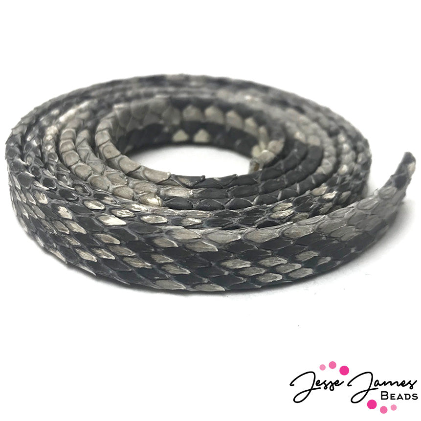 Exotic Python Leather in Natural Grey