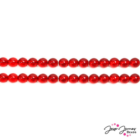 Red Cherry 8mm Round Czech Beads