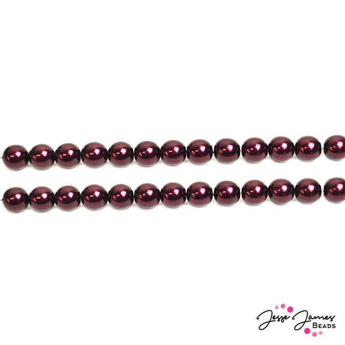 Red Garnet 8mm Pearl Czech Beads