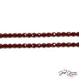 Red Garnet Opaque 8mm Fire Polish Czech Beads
