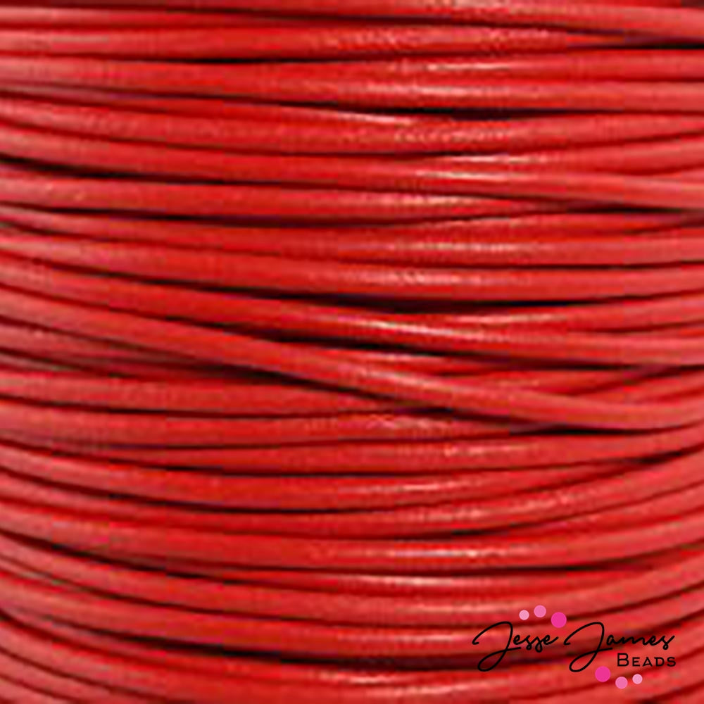 Red 0.5 MM Leather Cord