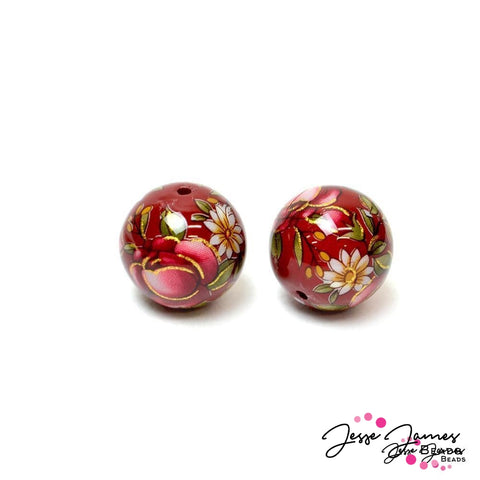 Red Rose On Red 14 mm Japanese Tensha Bead Pair