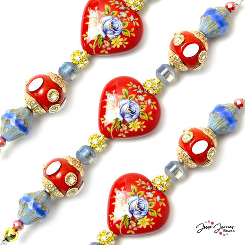 Red Riot Rose Tensha Shorty Bead Strand