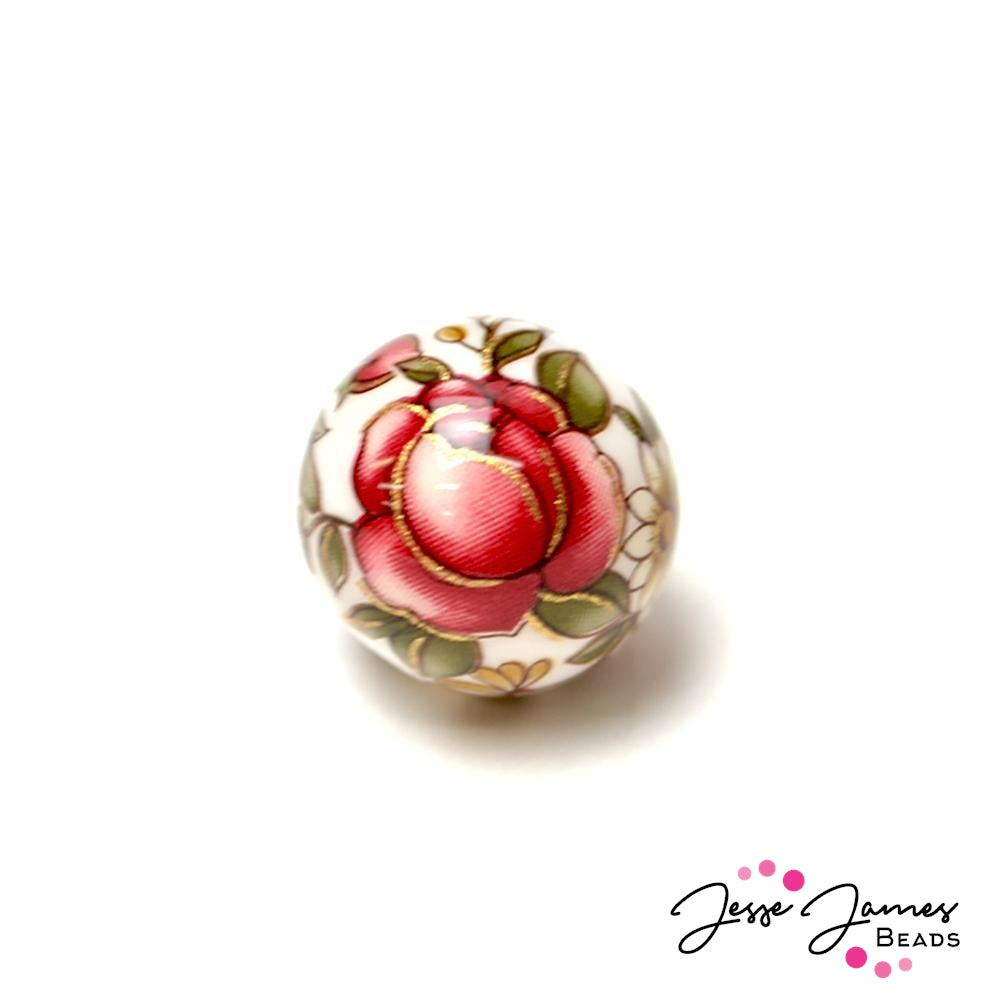 Rosaline Daisy on White 14MM Japanese Tensha Bead Pair