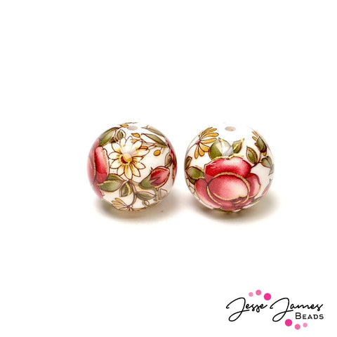 Japanese Tensha Bead Pair Rosaline Daisy on Pearl White 14MM