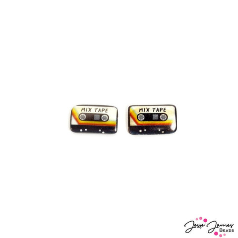 Retro Mixed Tape Bead Pair