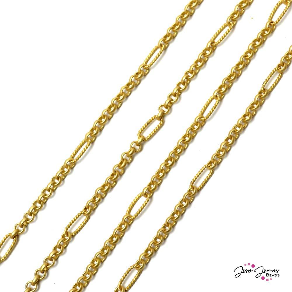 Rolo Interrupted Chain in Matte Gold