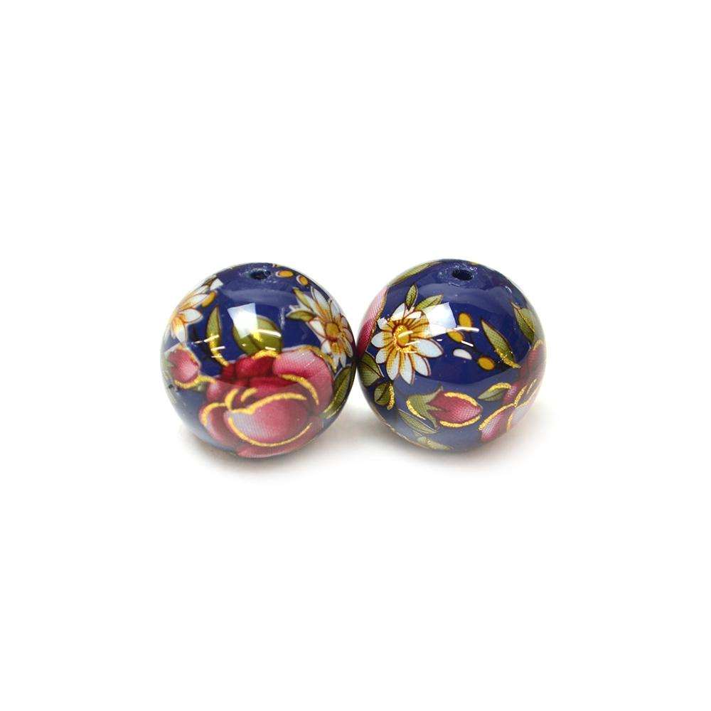 Japanese Tensha Bead Pair Red Roses On Blue 14mm