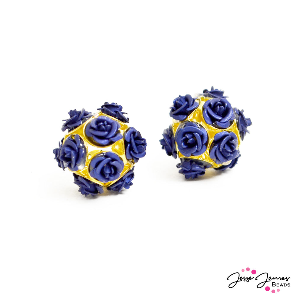 Feeling Rosy Royal Cobalt Rose Bead Pair