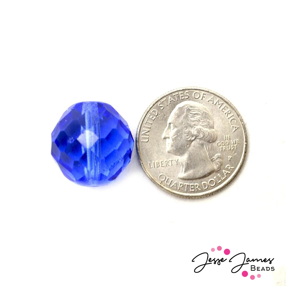 Sapphire Blue Big Boy Czech 18mm Beads