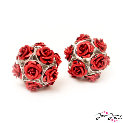 Feeling Rosy Scarlet Red Rose Bead Pair