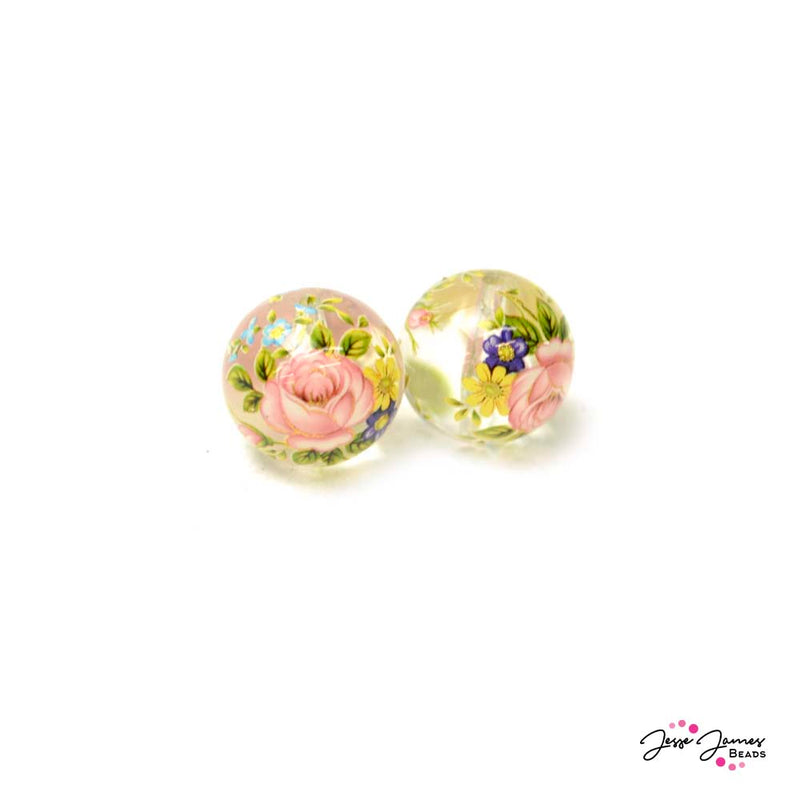 Japanese Tensha Beads Secret Garden on Clear 14mm