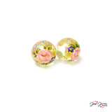 Secret Garden on Clear 14mm Japanese Tensha Beads