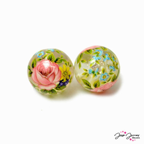 Japanese Tensha Beads Secret Garden on Clear 16mm