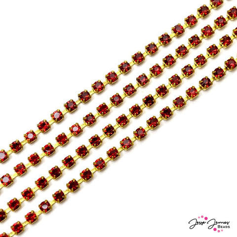 Preciosa Siam Red & Gold Cup Chain