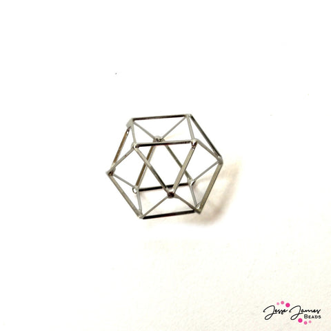 Cage Bead Silver Geometric 20mm