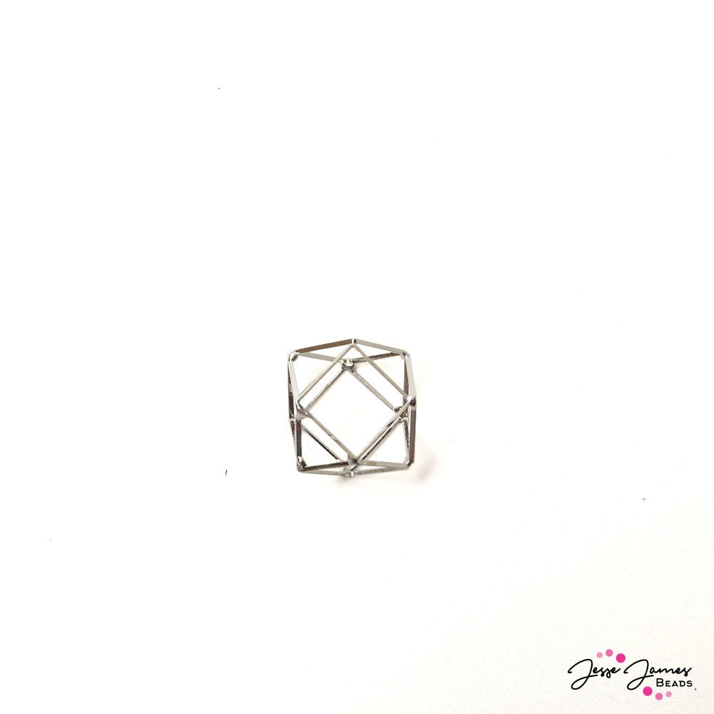 Silver Geometric Cage Bead 20mm