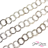 Silver Hammered Cable Metal Chain