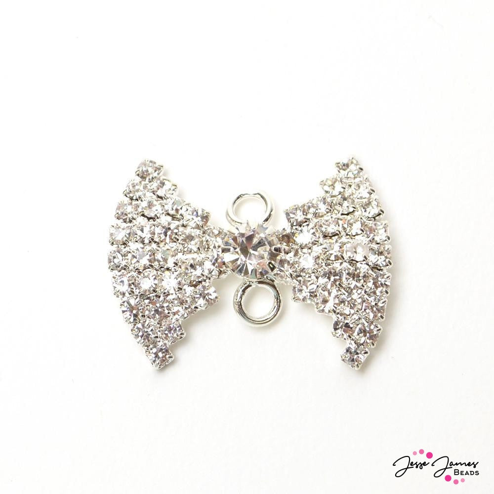 Silver Sparkle Rhinestone Bow Connector