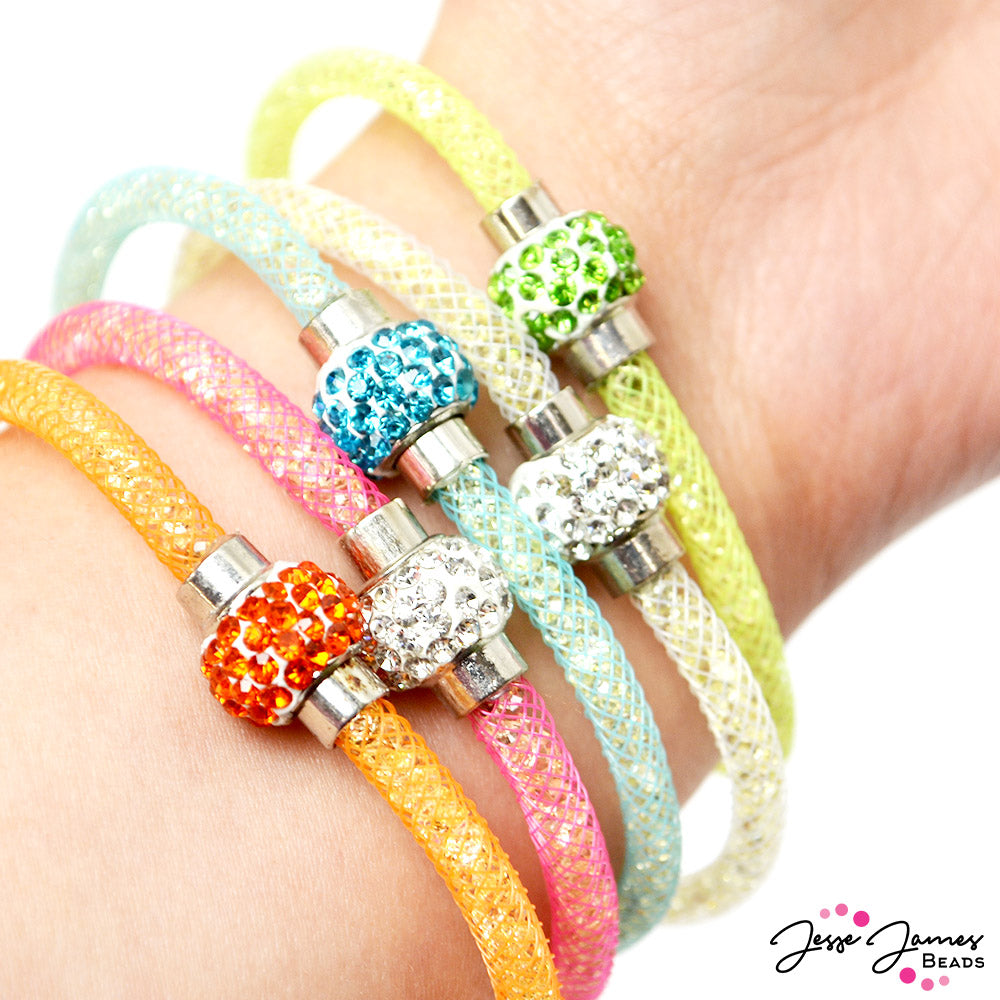 SPARKLY Mesh Cord Bracelet Crystal With Magnetic Clasp White Blue Pink or Black