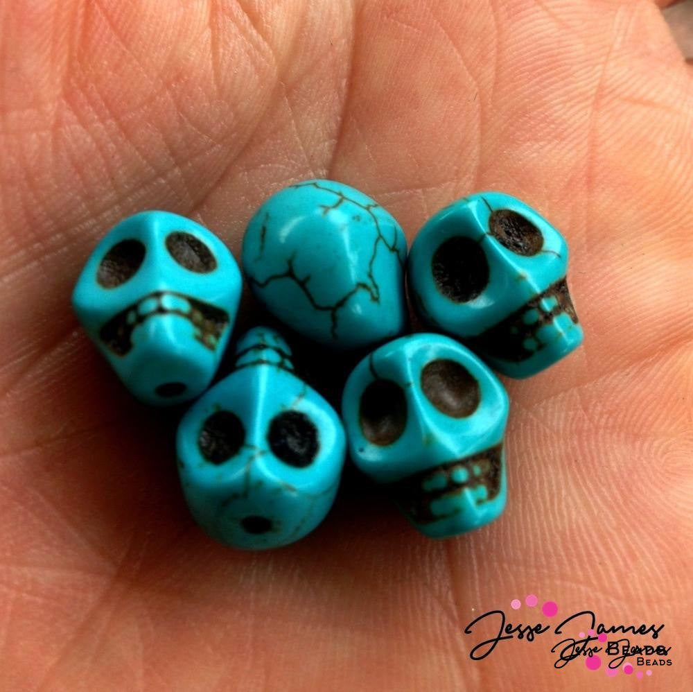 Turquoise Skull Beads (5 qty)
