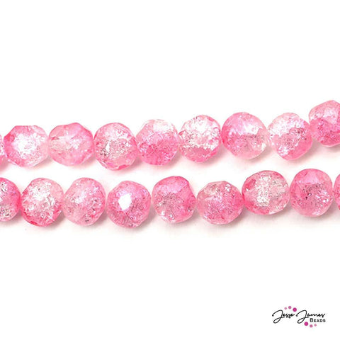 Pink Sparkling Princess 8mm Fire Polish Czech Glass Round Beads