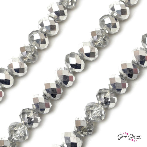 Sparkling Silver & Crystal 14MM Big Boy Rondelle Beads