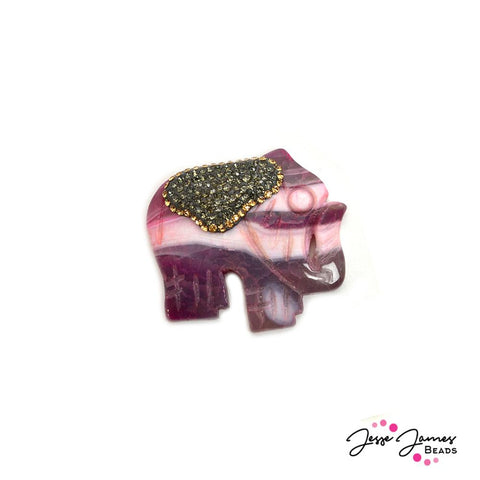 Stone Pendant in Marble Pink Elephant