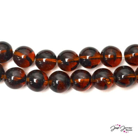 Brown & Black Striped Big Boy 12mm Czech Glass Round Druk Beads