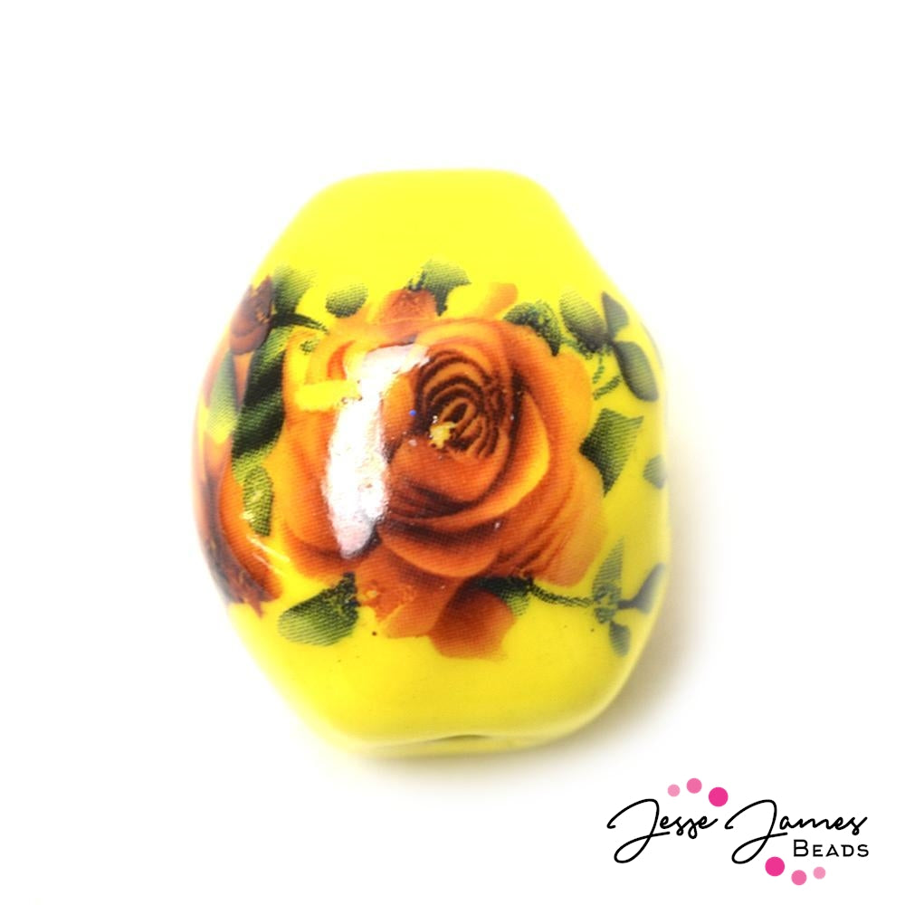 Sunshine Tinted Rose Ceramic Big Boy Bead