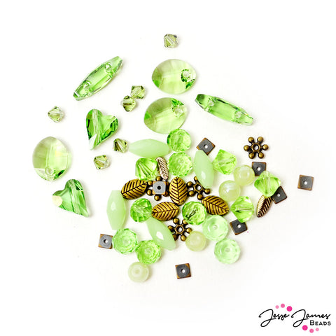 Bead Mix in Peridot Feat Swarovski Crystals