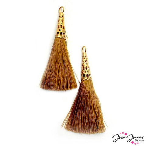 Tower Tassel Pair in Golden Brown