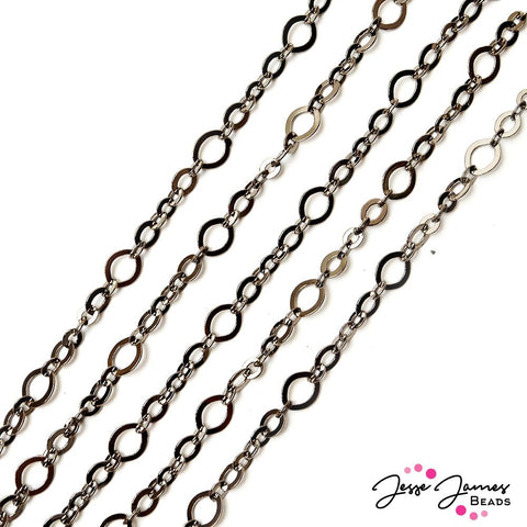 Chain Thin Oval Link in Gunmetal
