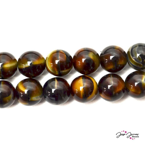 Brown Tigereye Big Boy 12mm Czech Glass Pearls