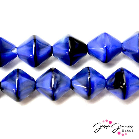 Blue Tigereye Czech Lantern Beads 12MM