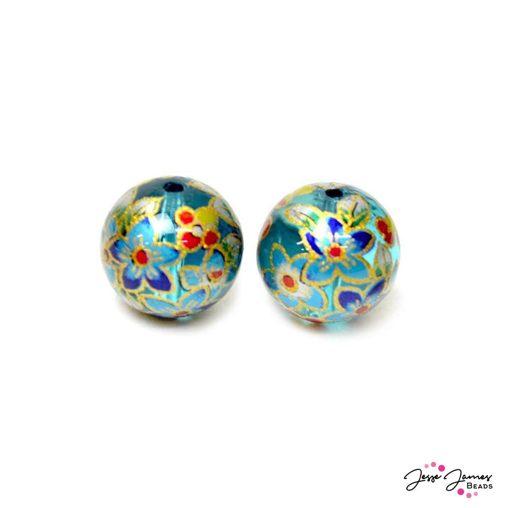 Water Lilies 14mm Japanese Tensha Bead Pair
