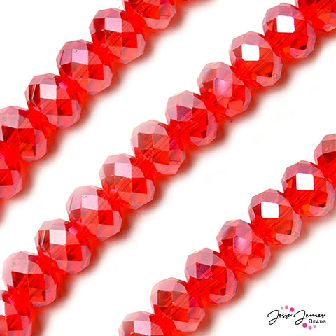 Bead Set Watermelon Red 14mm Rondelle ChiChi Glass Beads