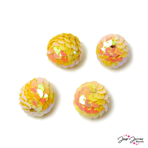 Yellow & Orange Sequin Seeded Beads
