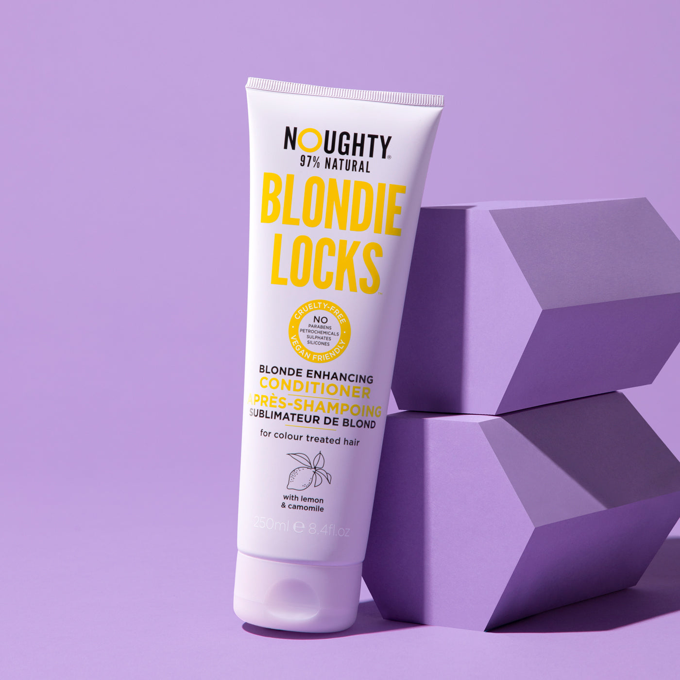 Noughty's blonde enhancing brightening conditioner for blonde bleached highlighted hair. Natural haircare vegan cruelty free natural sulphate free paraben free