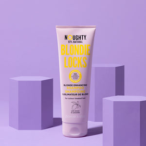 Noughty's blonde enhancing brightening shampoo for blonde bleached highlighted hair. Natural haircare vegan cruelty free natural sulphate free paraben free